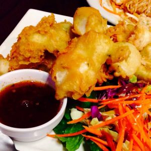 Light batter calamari with Thai sauce