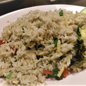 Combination of Thai Green curry and Fried rice.
