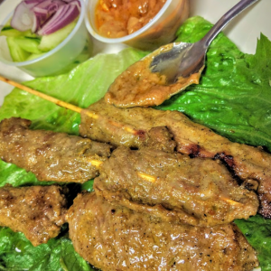 Lamb Satay or lamb skewer only at Le Moose Crepe Cafe.