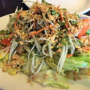 Spicy Thai papaya salad.
