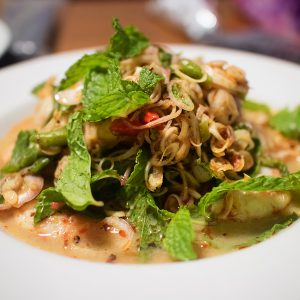 Spicy Thai seafood salad with Thai herbs