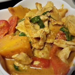 Pumpkin with Thai curry is the best.