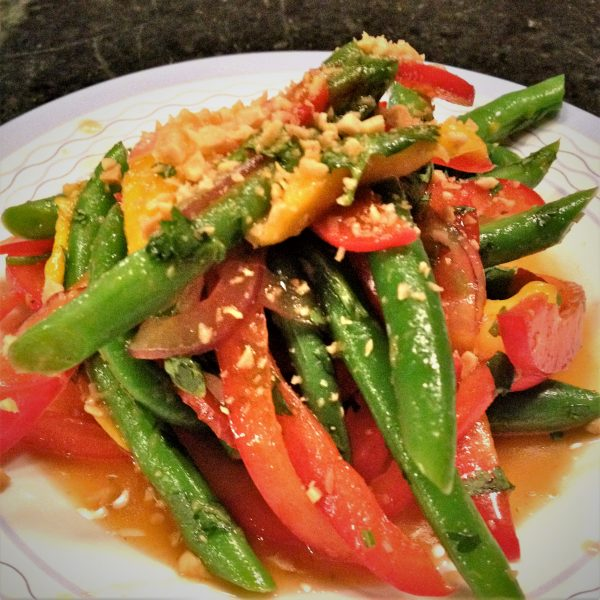 Spicy Green bean salad with Thai dressing.