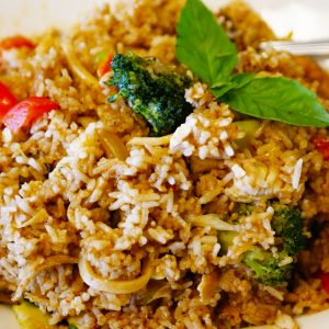 Combination of Thai Panang curry and Fried rice.