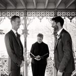 Two grooms getting married at the Ladies Pavilion in Central Park black and white image