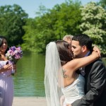 Newlyweds share first kiss on Bethesda Fountain Terrace