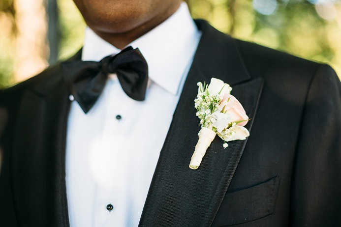 Light pink spray rose boutonniere