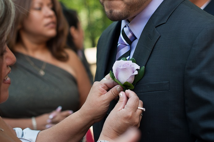 purple-boutonniere-wedding-flowers