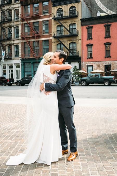 First Look Wedding Couple Hugs