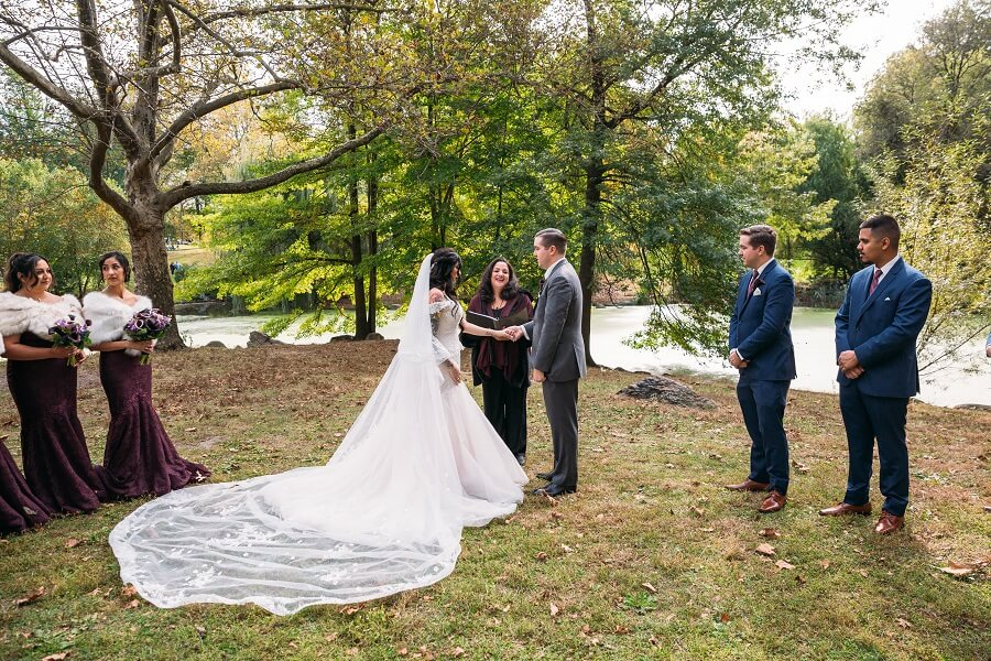Wedding ceremony along the Pool in Central Park