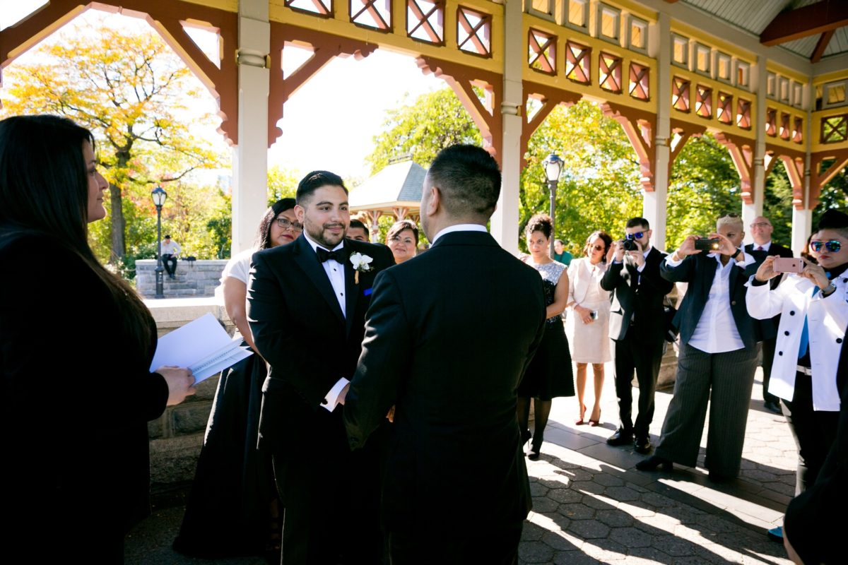Intimate gay wedding at Belvedere Castle in Central Park