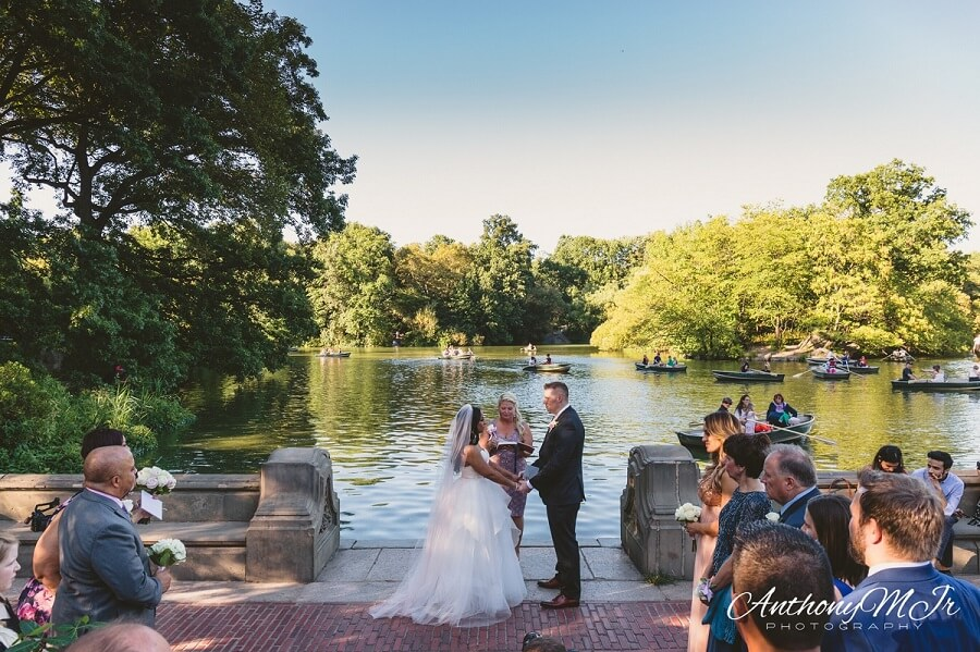 Couple gets married along Lake by Bethesda Fountain