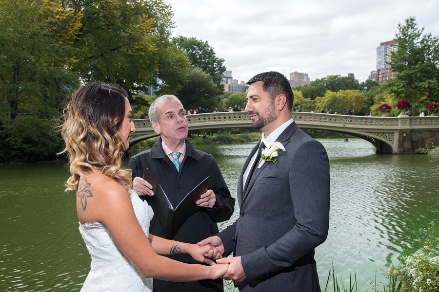 Intimate wedding on Bow Bridge landing