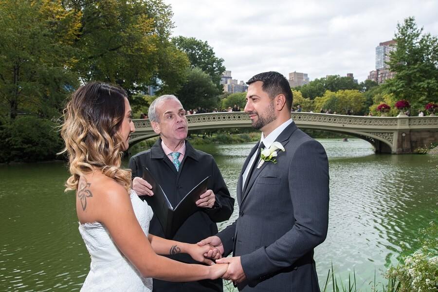 Intimate wedding on Bow Bridge landing in Central Park