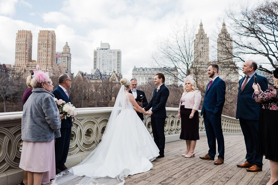 Intimate winter wedding on Bow Bridge