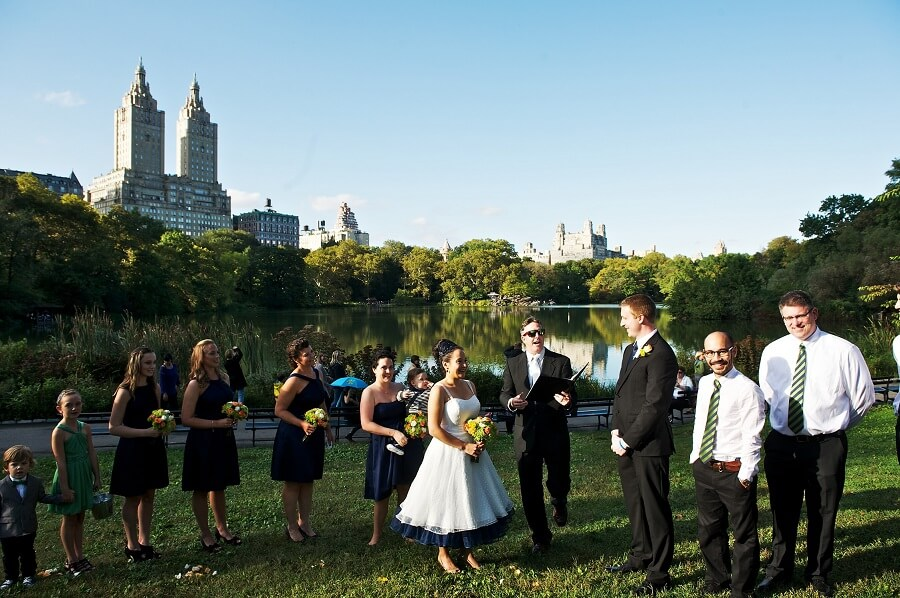Fall Central Park wedding ceremony on Cherry Hill
