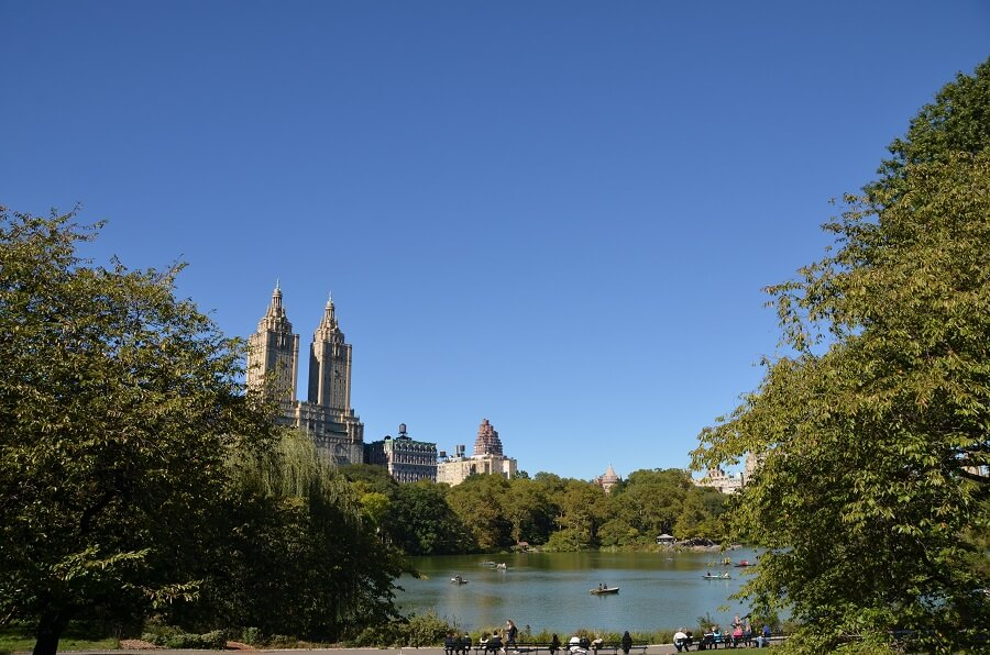 View of the Lake in Central Park with San Remo building in background