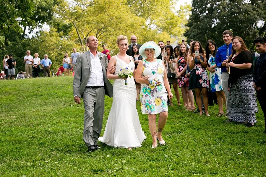 Parents walk bride down the aisle at Cherry Hill Central Park