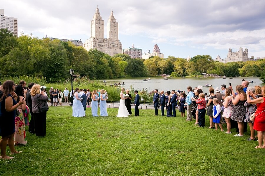 Large wedding ceremony on Cherry Hill in Central Park