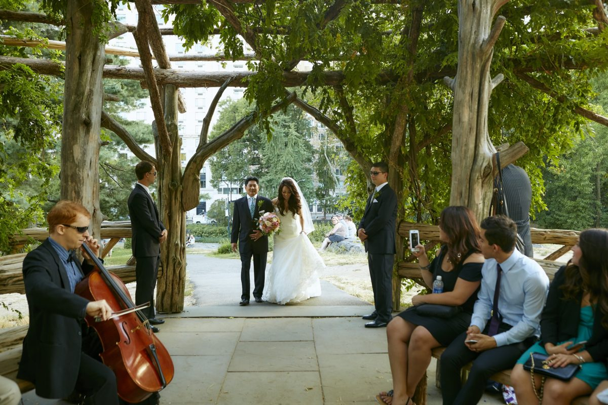 NYC Outdoor Wedding Venues & Locations: Bride escorted by dad down aisle at Cop Cot
