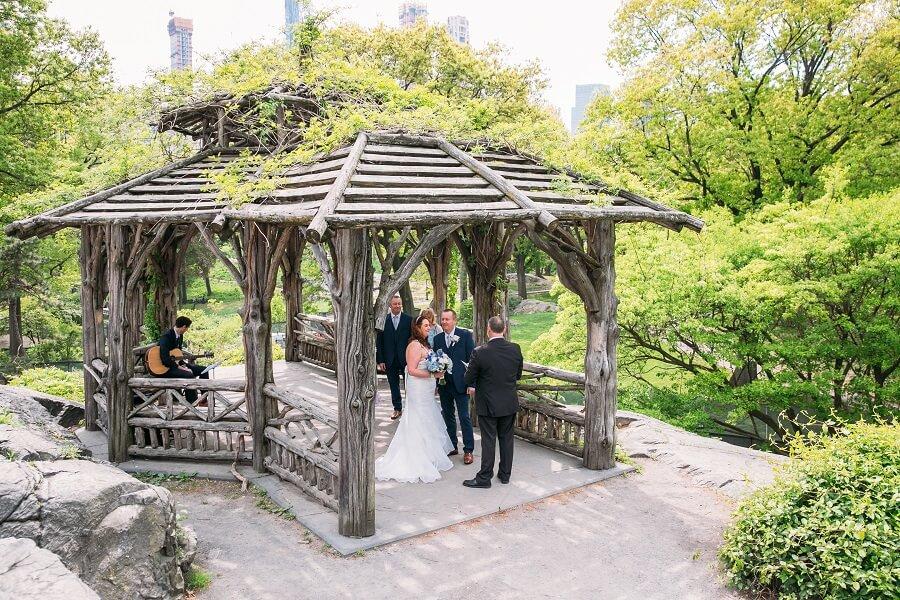 Intimate wedding at Dene Summerhouse gazebo in Central Park