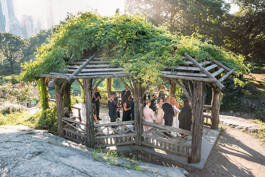 Wide shot of wedding ceremony at the Dene Summerhouse