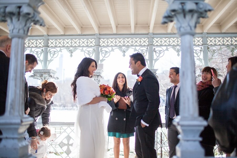 Couple laughing during wedding ceremony at the Ladies Pavilion