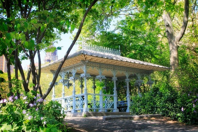 The blue Victorian gazebo called the Ladies Pavilion in Central Park