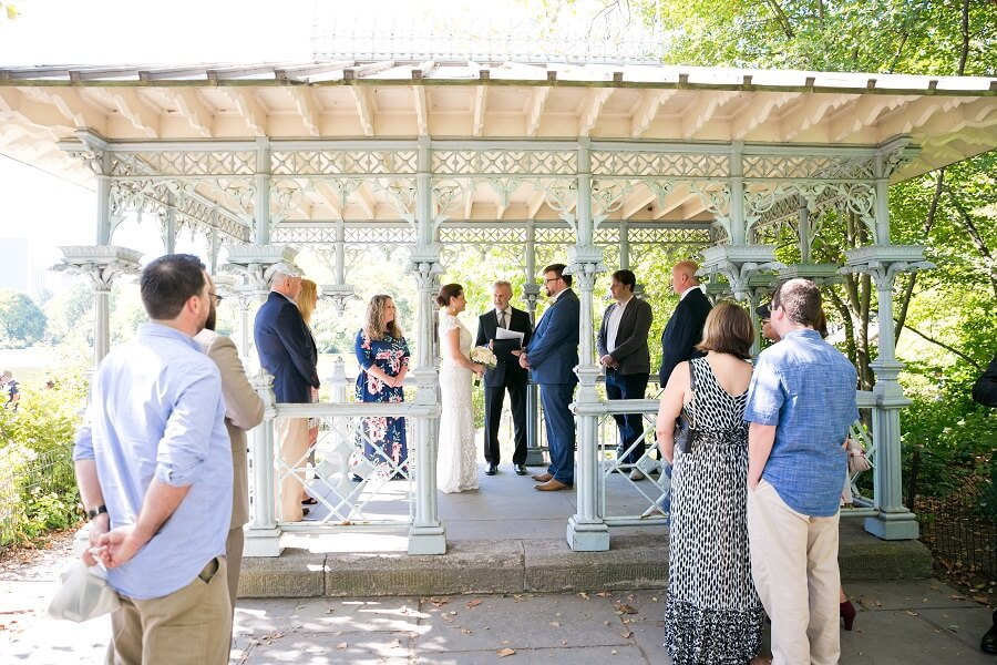 Intimate wedding ceremony at the Ladies Pavilion in Central Park
