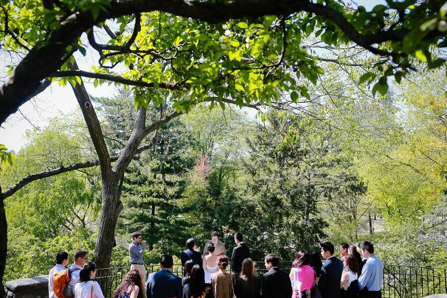 Wedding ceremony at Shakespeare Garden in Central Park