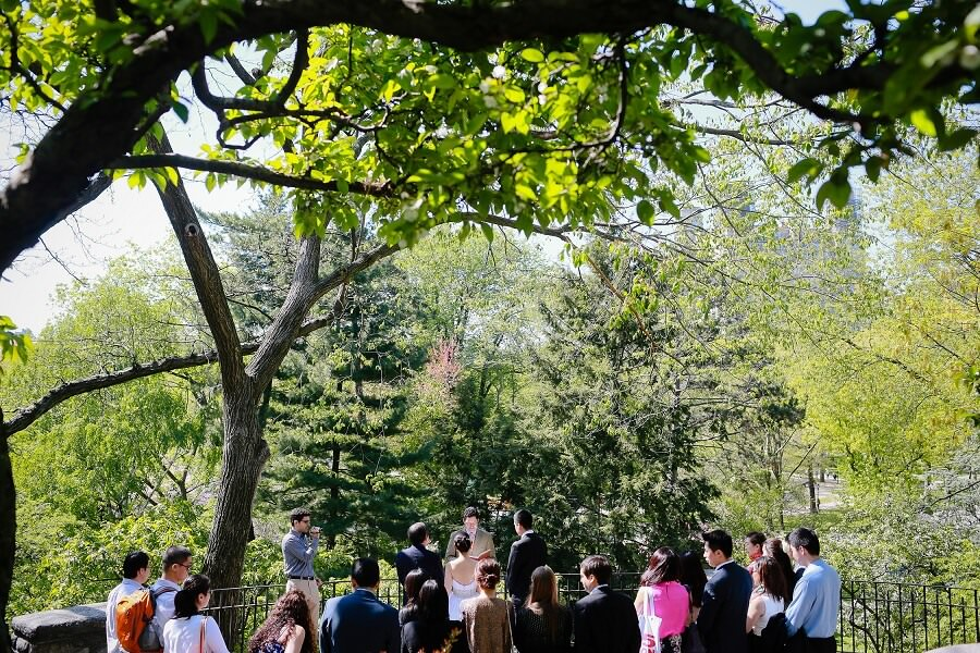 Wedding ceremony at Shakespeare Garden in Central Park