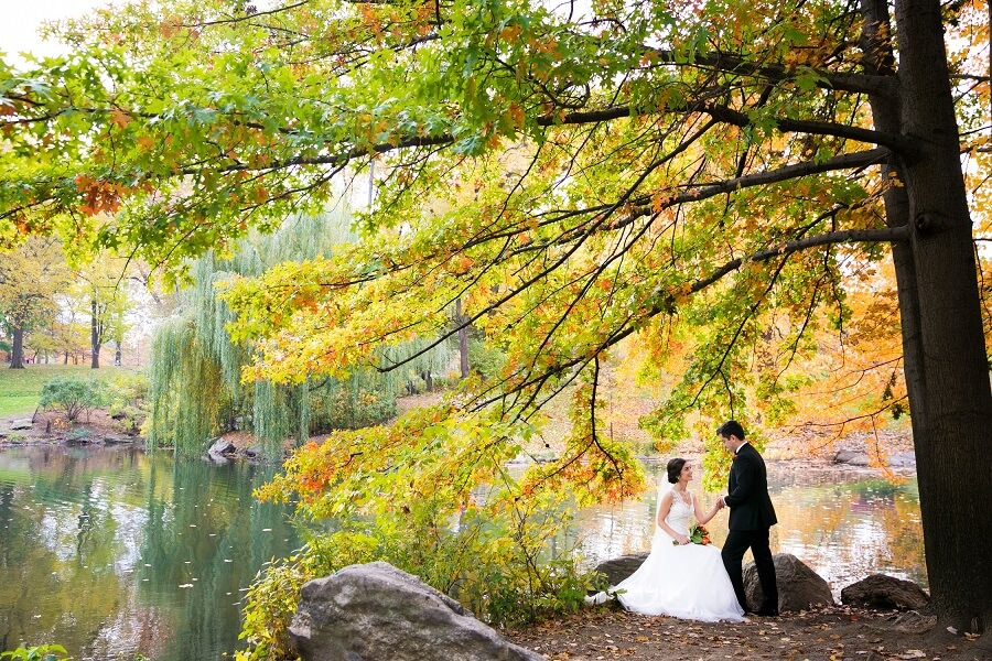 Bride sits on rock and groom holds hand under colorful fall tree in Central Park
