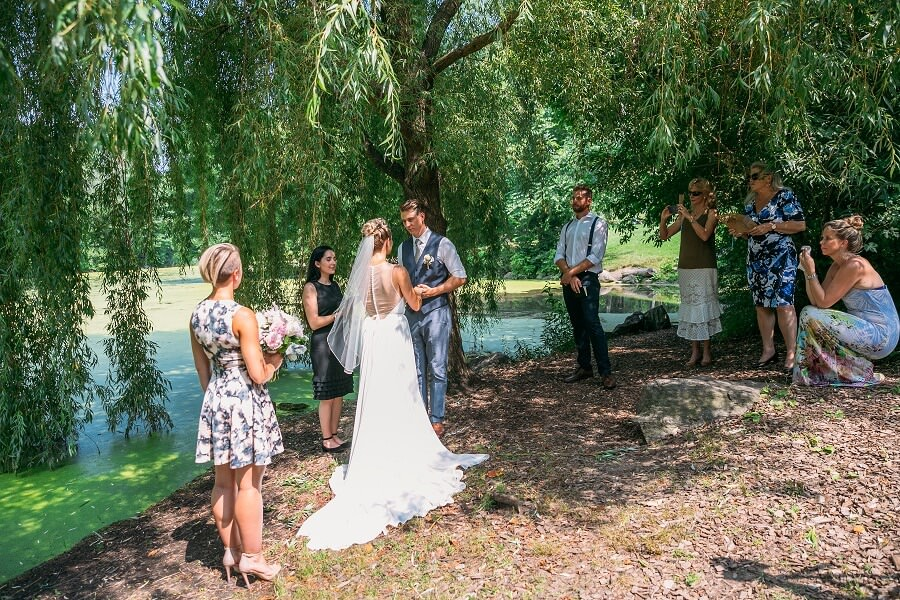 Intimate wedding ceremony under willow tree by Pool in Central Park