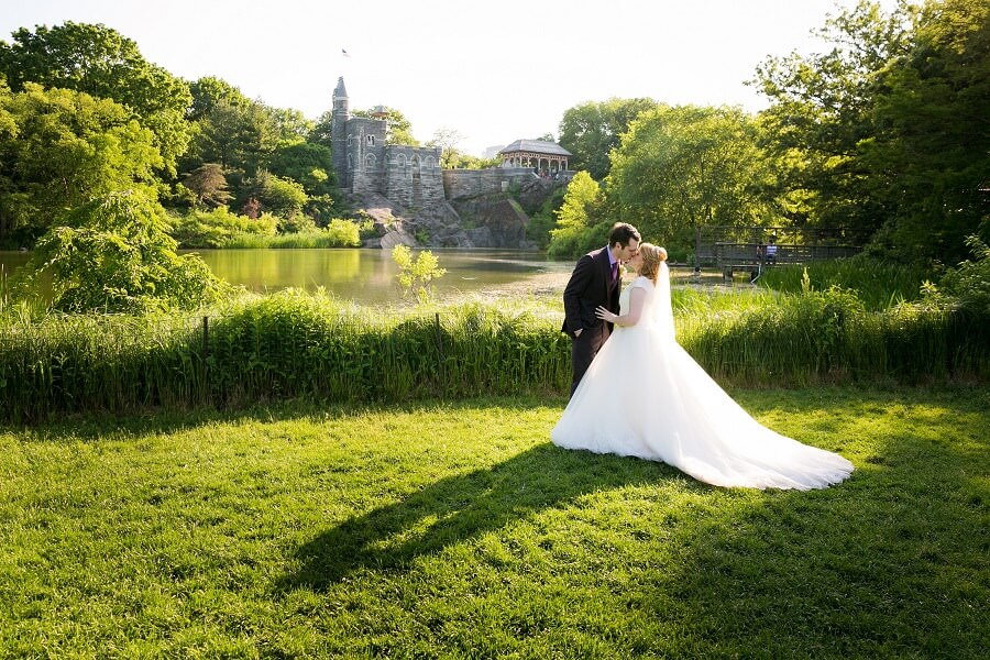 Wedding Couple by Turtle Pond with Belvedere Castle in Background
