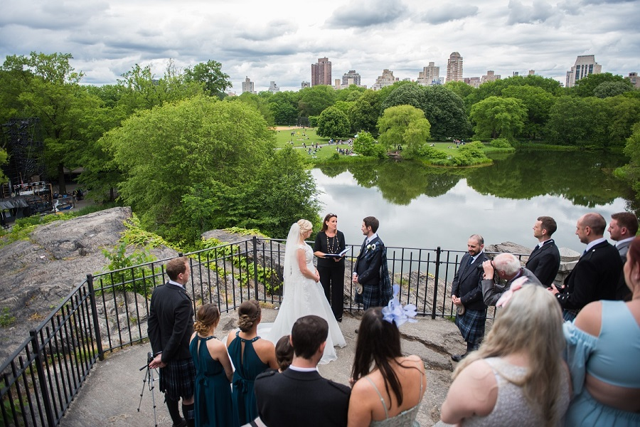 Wedding ceremony at Belvedere Castle overlooking Turtle Pond and NYC Skyline
