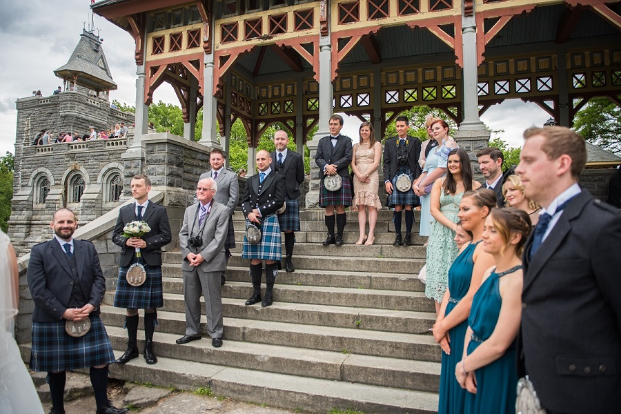 Photo of guests watching Scottish wedding ceremony at Belvedere Castle