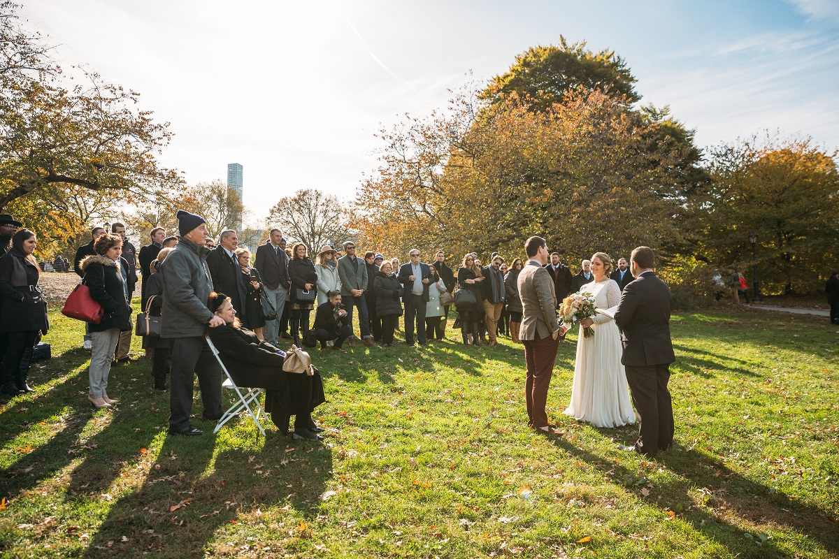 Couple gets married with fall foliage on Cherry Hill
