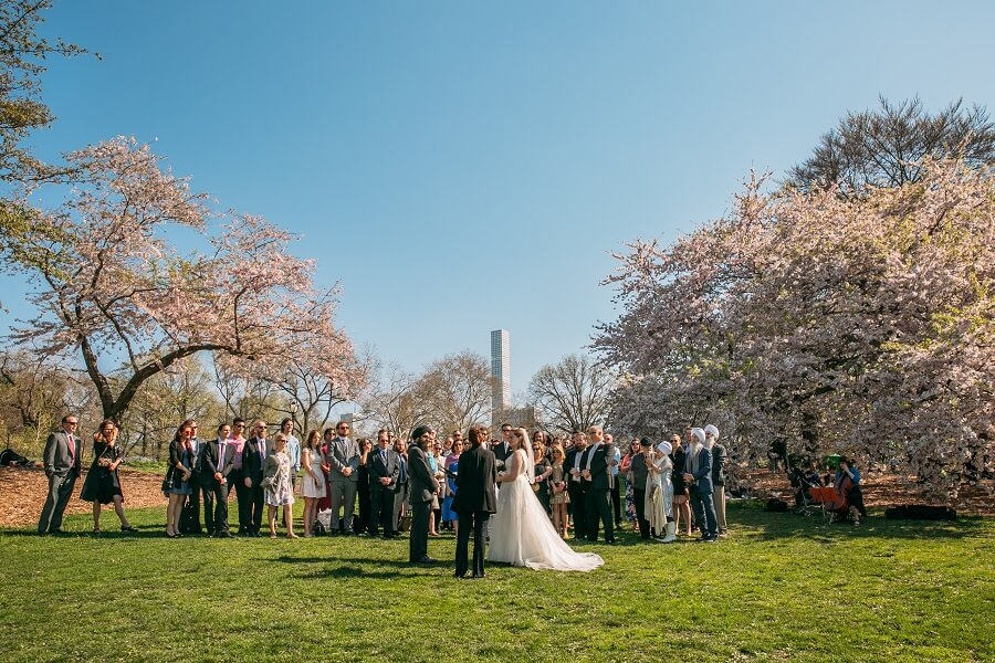 Spring wedding on Cherry Hill with cherry blossoms
