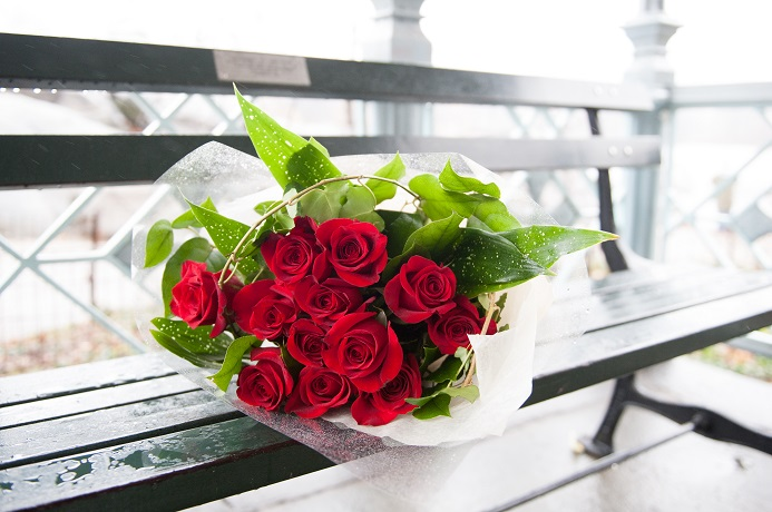 Bouquet of a dozen red roses on a bench at the Ladies Pavilion