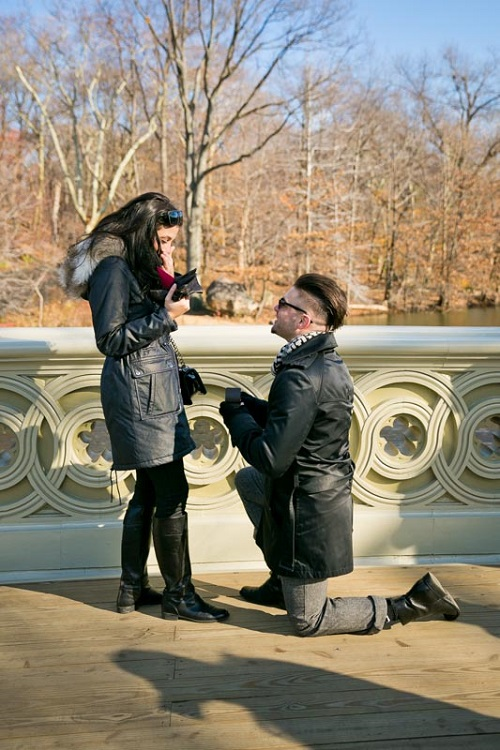 Girlfriend surprised as boyfriend proposes on one knee on Bow Bridge