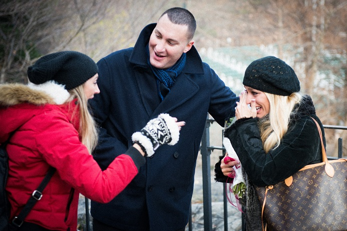 Sister surprises newly engaged couple after proposal
