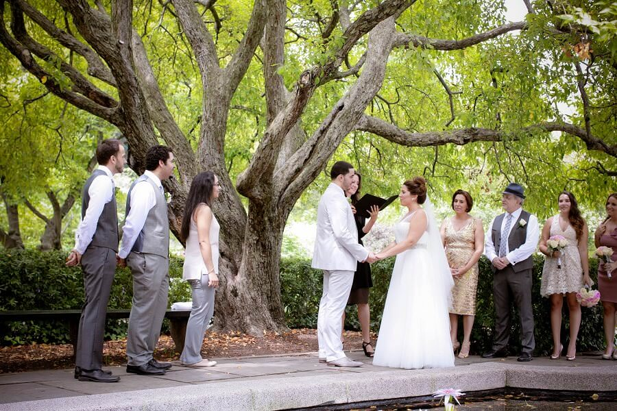Intimate wedding ceremony in South Garden, Conservatory Garden