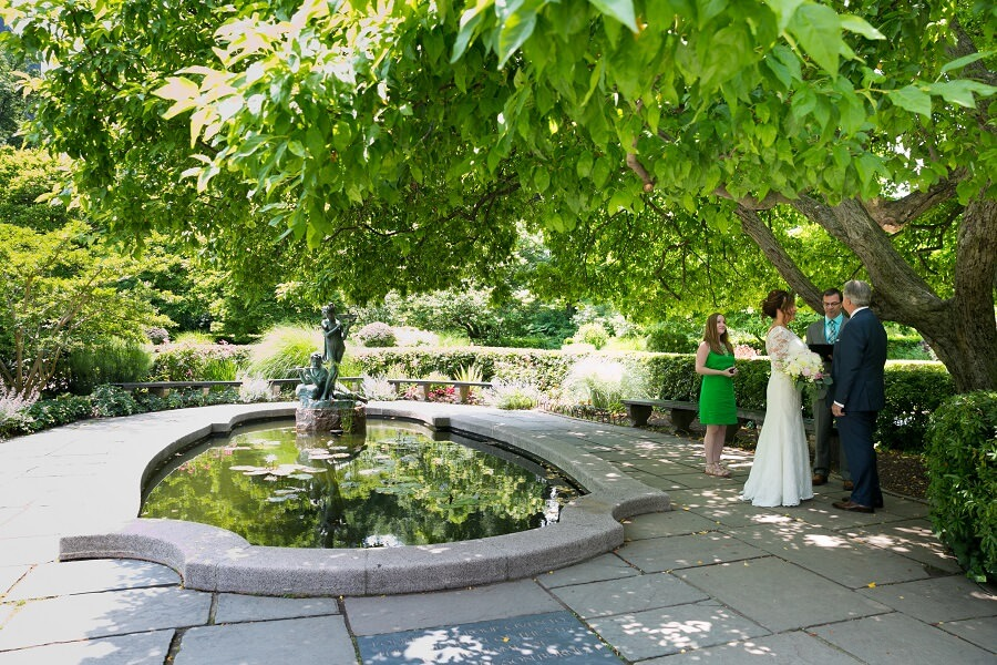 Elopement under stately tree in South Garden, Conservatory Garden