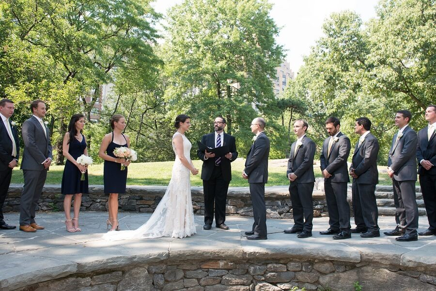 Wedding ceremony at Summit Rock in Central Park