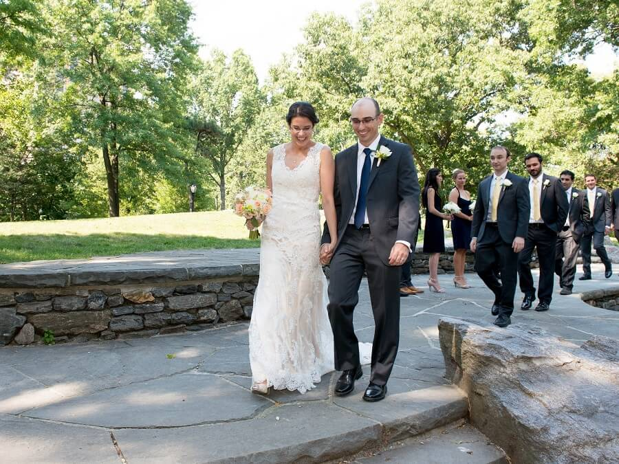 Couple exits ceremony at Summit Rock