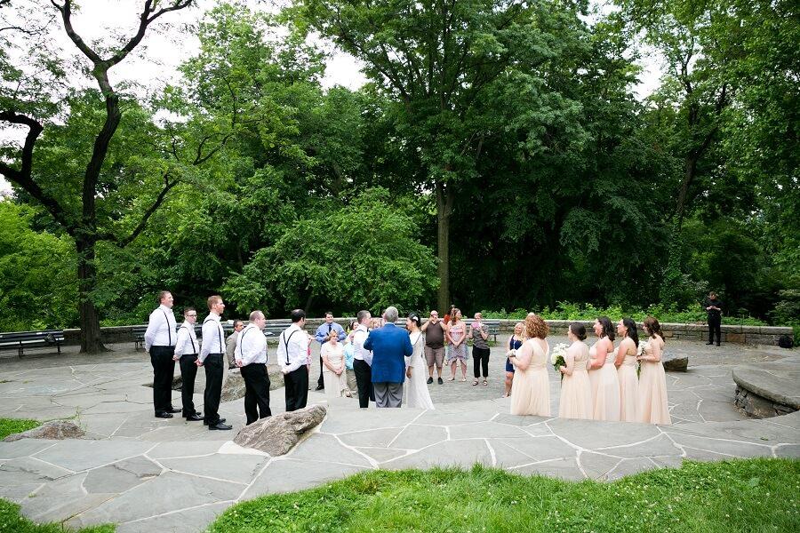 Wide shot of wedding ceremony on Summit Rock