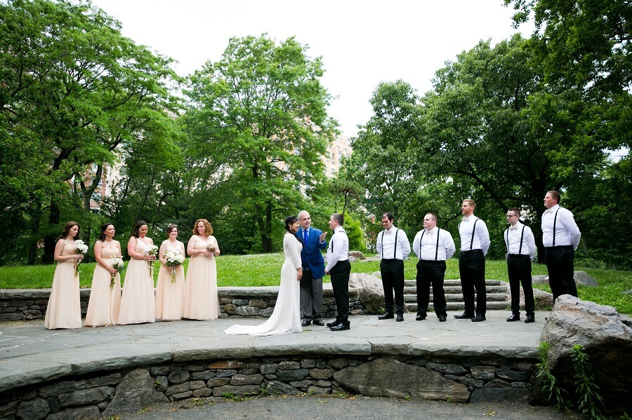 Wedding ceremony with large wedding party on Summit Rock