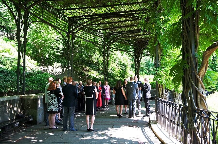 Gay wedding at the Wisteria Pergola in Spring