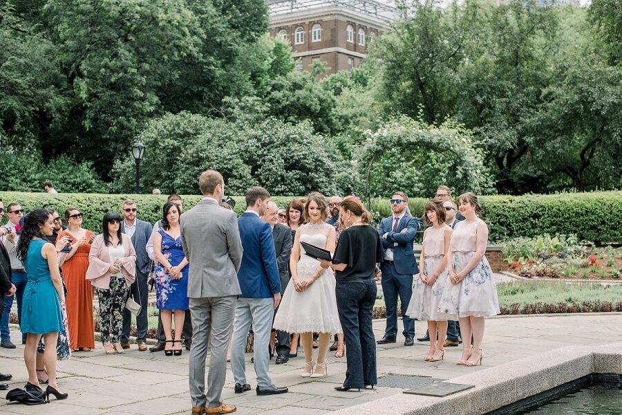 Wedding ceremony in front of Untermyer fountain in the North Garden