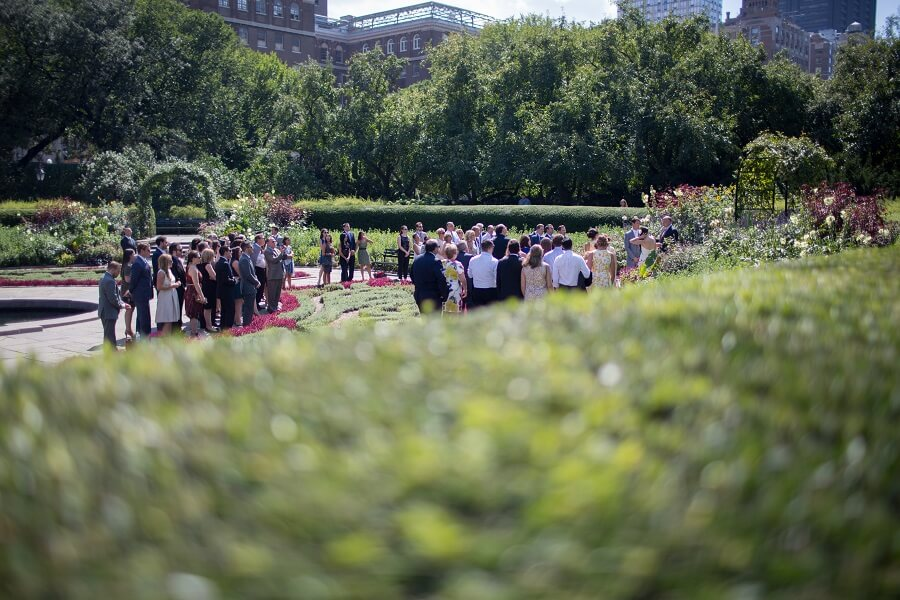Large wedding ceremony in the North Garden of the Conservatory Garden